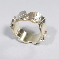 White and yellow gold ivy leaf ring
