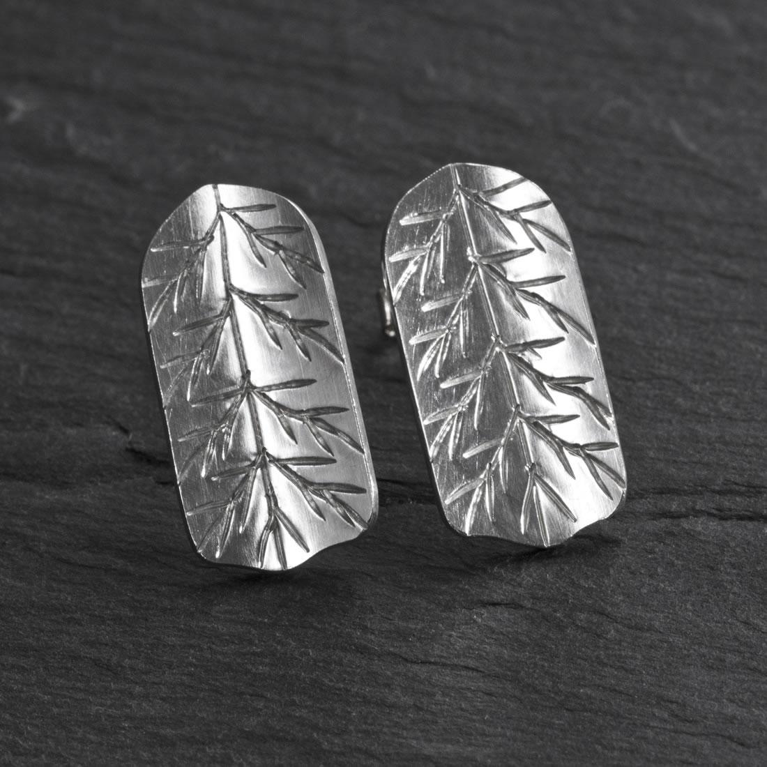 Fern Argentium Silver Studs