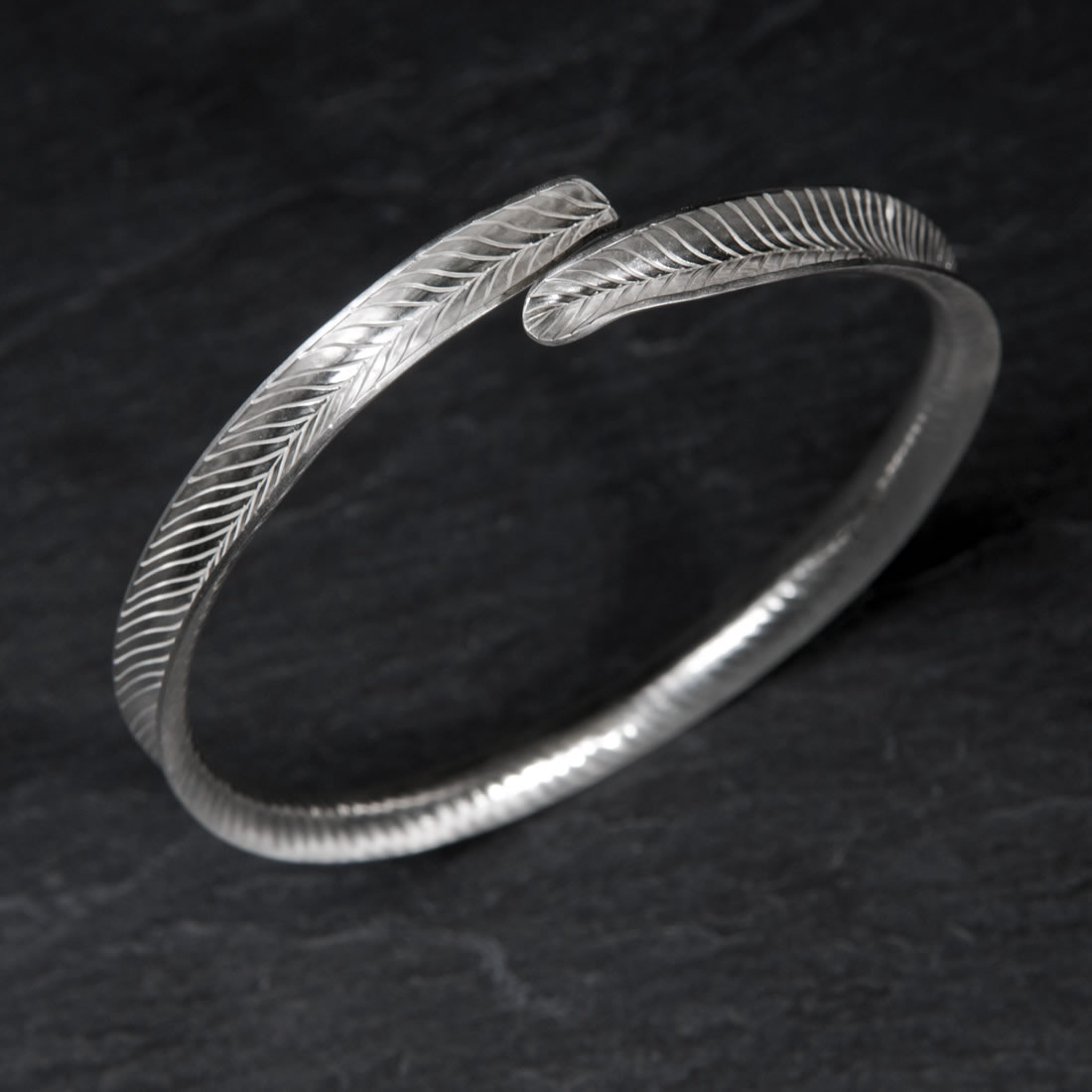 Frond Argentium Silver Bangle