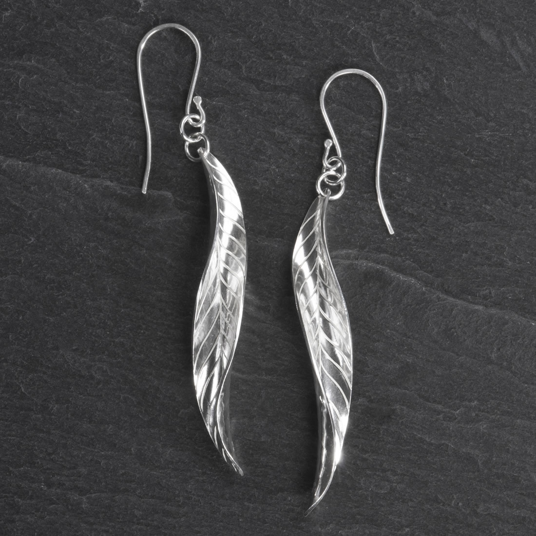 Frond Argentium Silver Earrings