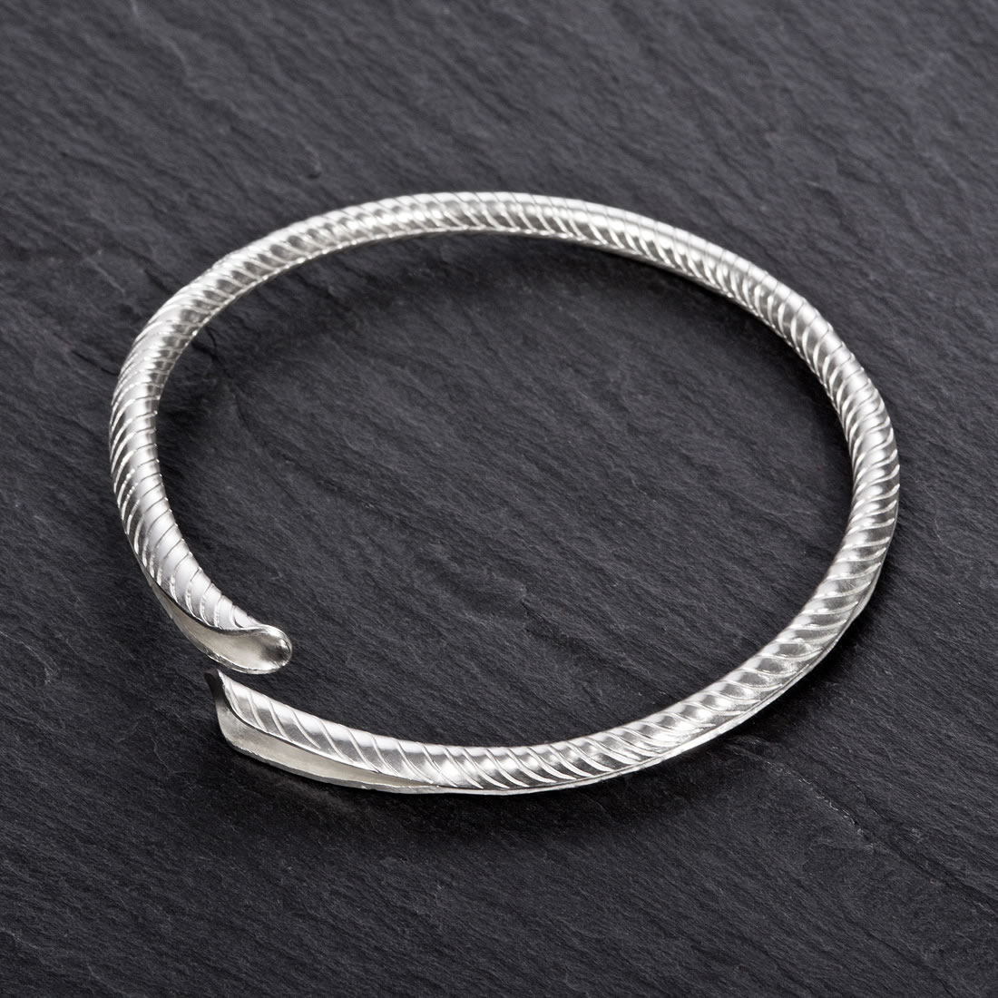 Frond Argentium Silver Bangle - Wide