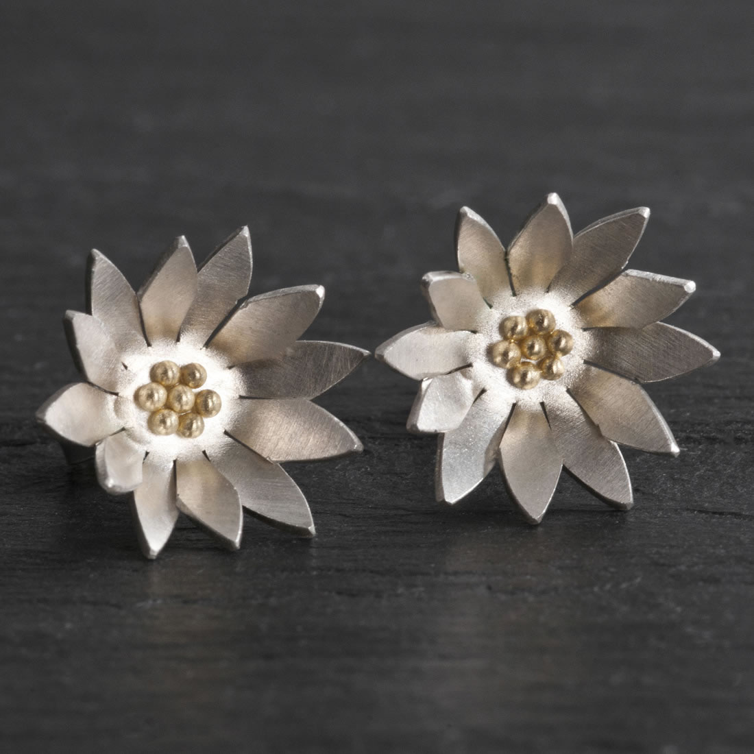 Botanicals Argentium Silver with 18ct Yellow Gold Daisy Studs