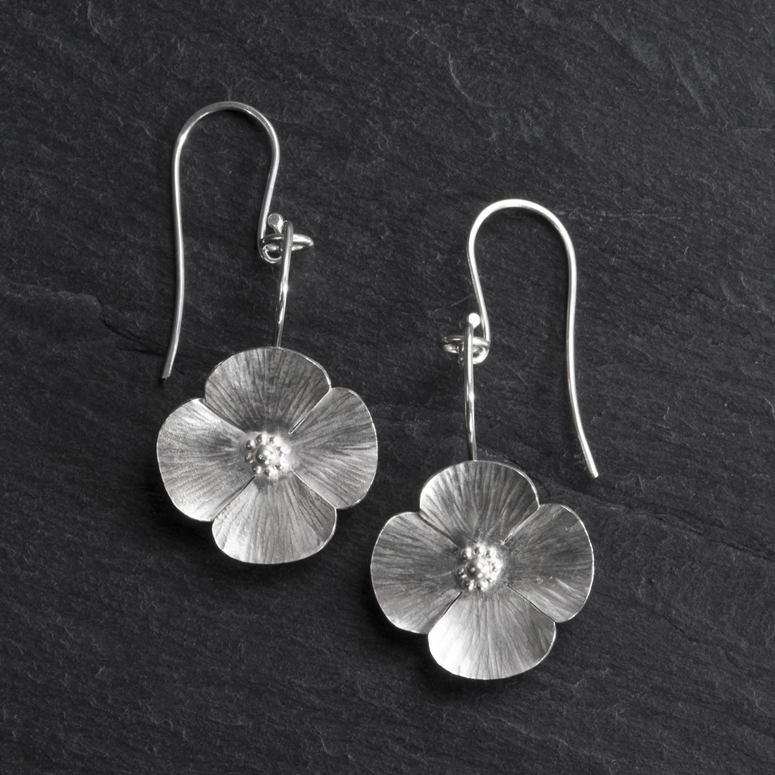 Botanicals Argentium Silver Poppy Earrings