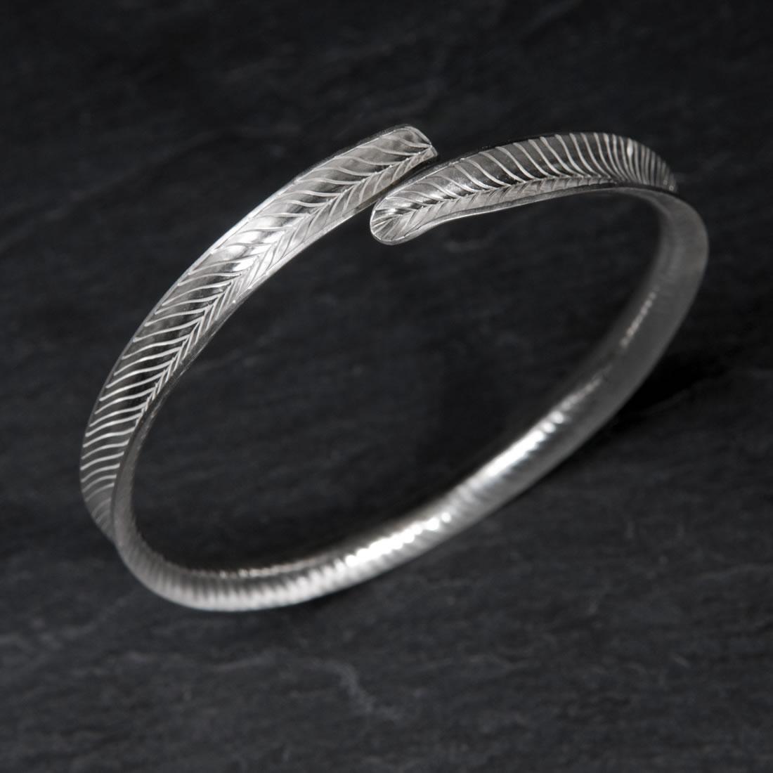 Frond Argentium Silver Bangle