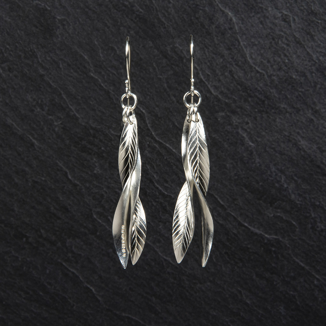 Frond Argentium Silver Double Leaf Earrings