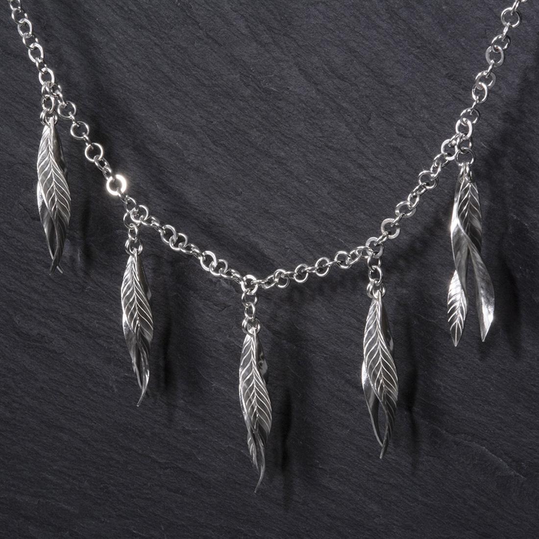 Frond Argentium Silver Double Leaf Necklace