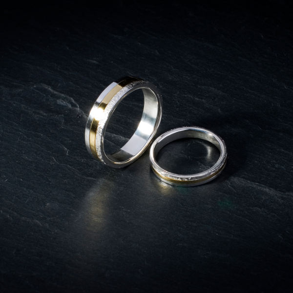 Gold and silver bespoke wedding rings