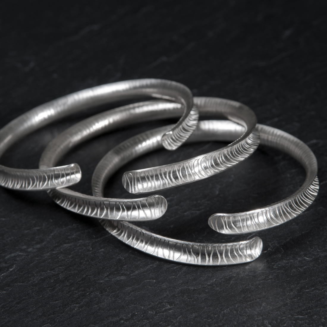 Ripple Argentium Silver Open Bangle