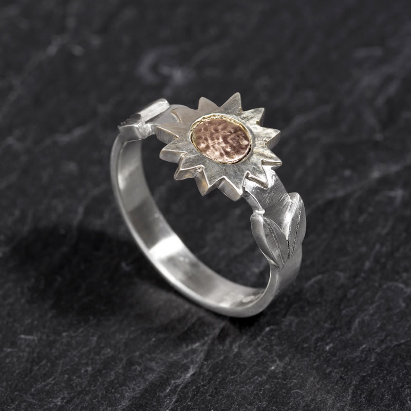 Sunflower ring with white & red Gold