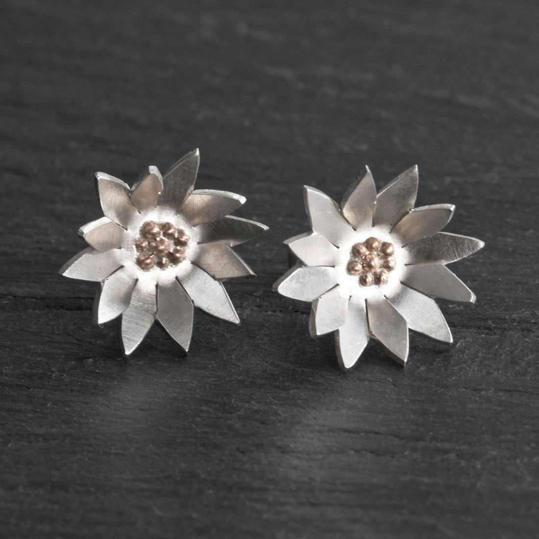 Botanicals Argentium Silver with 9ct Rose Gold Daisy Studs