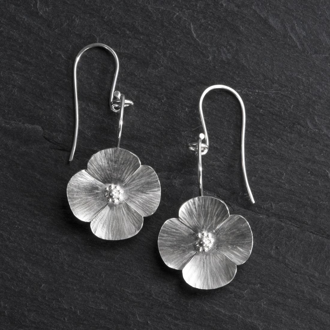 Botanicals Argentium Silver Poppy Earrings