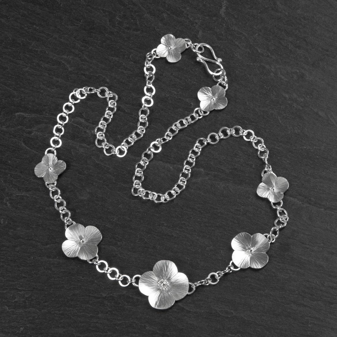 Botanicals Argentium Silver Poppy Necklace