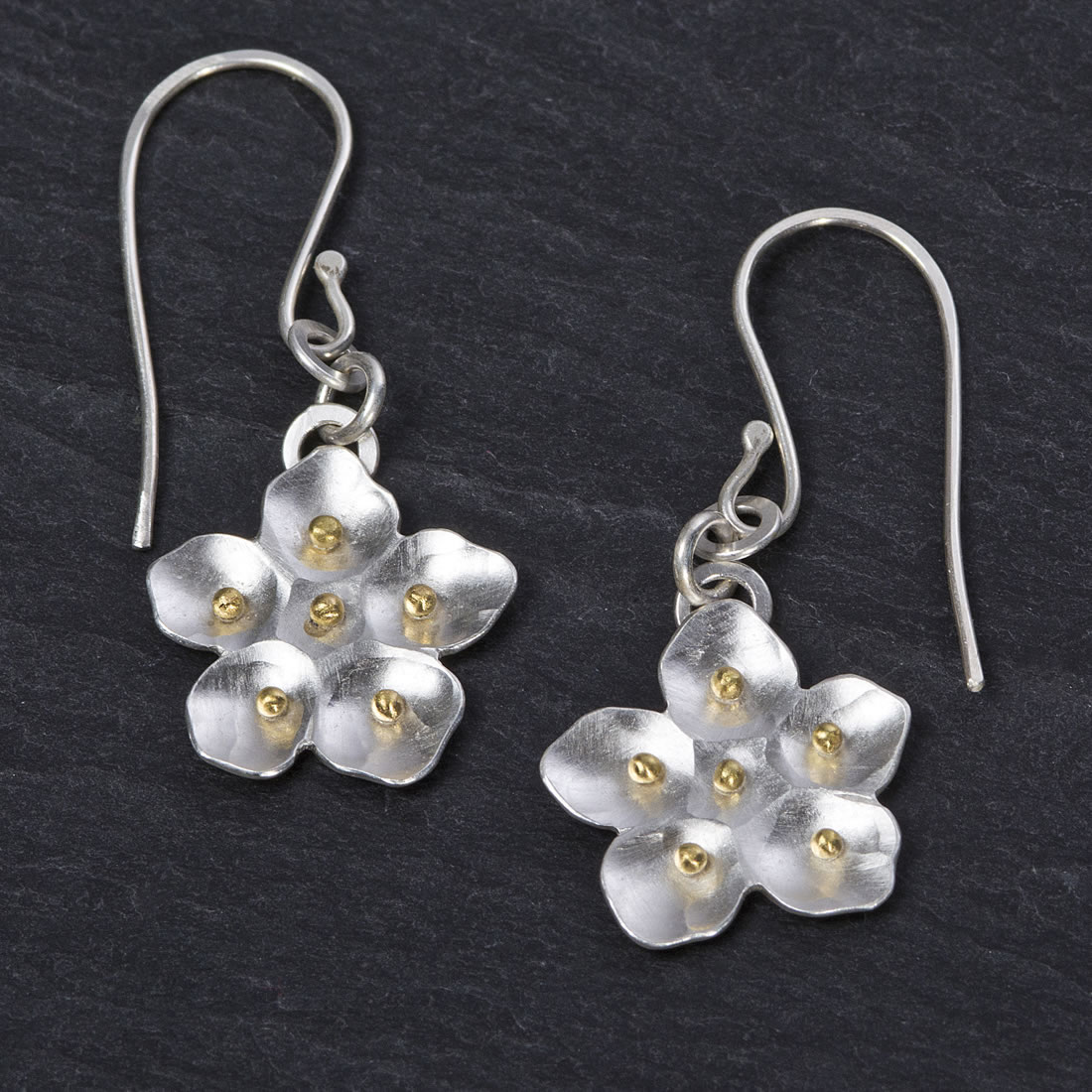 Botanicals Argentium Silver and 18ct Yellow Gold Crab Apple Blossom Earrings